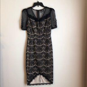 Black Lace w/ Nude Midi Dress